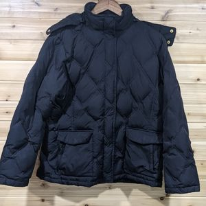 Land's End Black Quilted Puffer Jacket XL